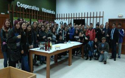 Estudiantes Erasmus de la UHU conocen el proceso de vinificación y catan los vinos del Condado en su visita a Bodegas del Socorro